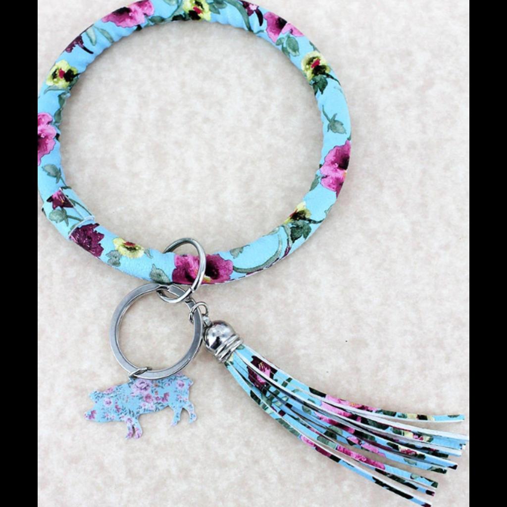 Faux Leather Vintage Flowers Blue Pig Tassel Bangle Keychain