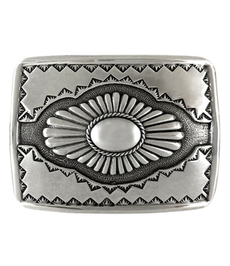 H8141 LASRP Southwestern Sterling Silver Finish Belt Buckle