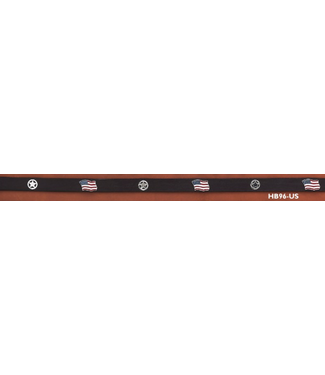 HB96-US Leather Hatband US Flags and Stars
