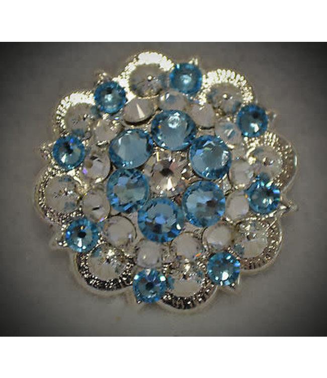 """Rhinestone Berry Concho 1"""" - Blue Crystal"""