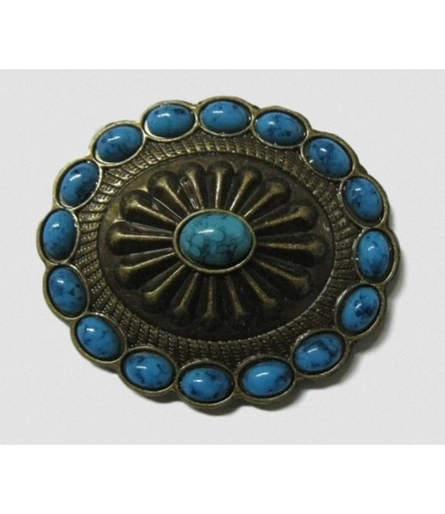 """Weaver 1 3/4"""" Turquoise Brass Concho"""