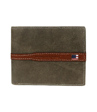 MWS-028 Genuine Leather US Flag Logo Men's Wallet