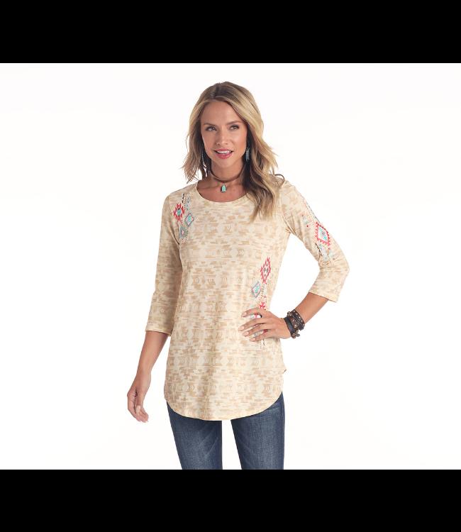 Panhandle Slim Ladies Plus Aztec Print 3/4 Sleeve Shirt