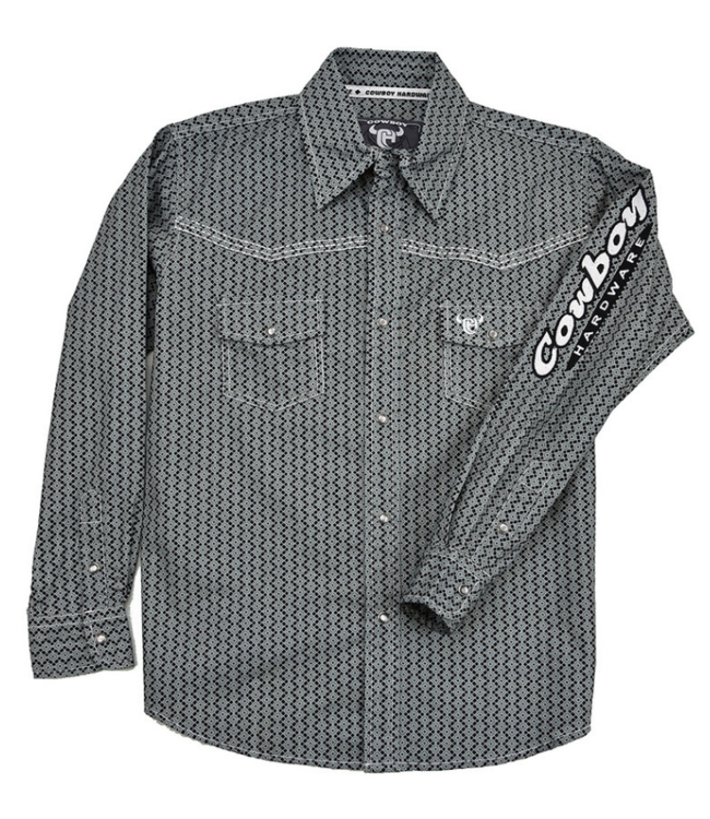 Cowboy Hardware Boy's Charcoal Overlap Print Shirt