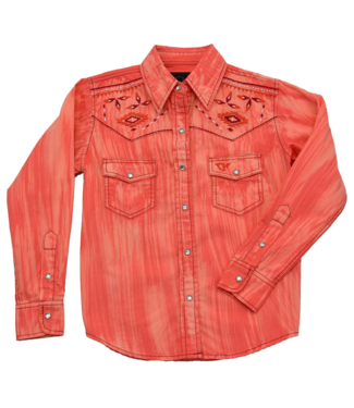Cowboy Hardware Girl's Living Coral Brush Dye Shirt