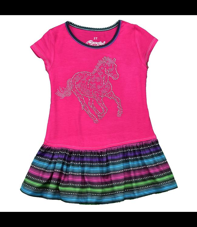 Cowboy Hardware Girl's Hot Pink Sugar Horse Serape Dress