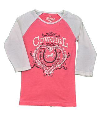 Cowboy Hardware Girl's Cowgirl Ranch Acid Wash Raglan Shirt