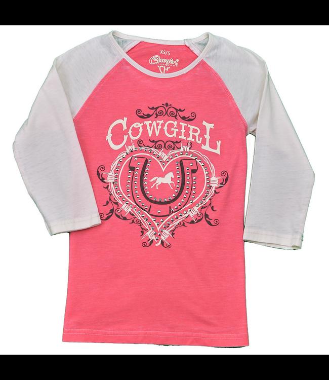 Cowboy Hardware Girl's Cowgirl Ranch Acid Wash Raglan Shirt