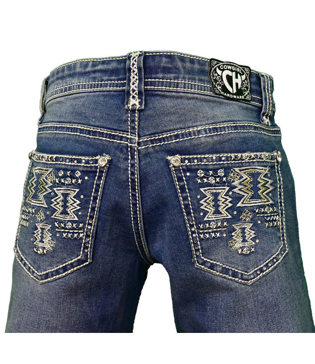 Cowboy Hardware Girl's Medium Wash Aztec Jeans