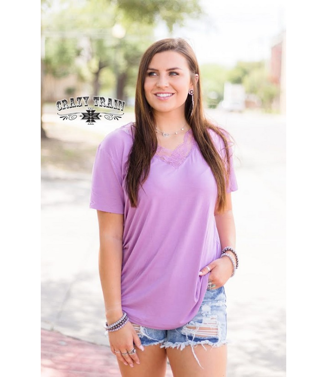 Crazy Train Clothing Lavender Very Fave V-Neck