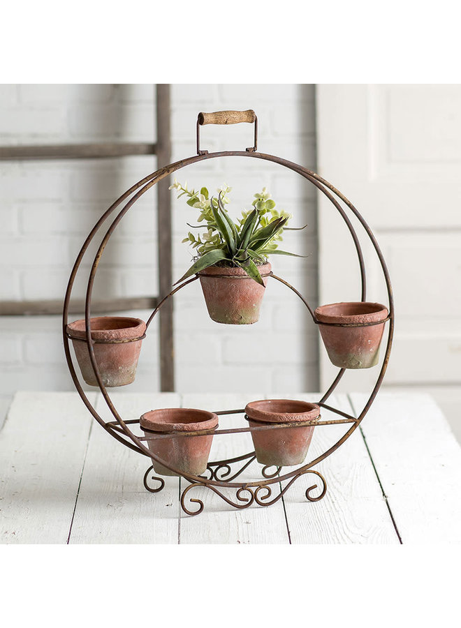 Round Plant Stand with Terra Cotta Pots