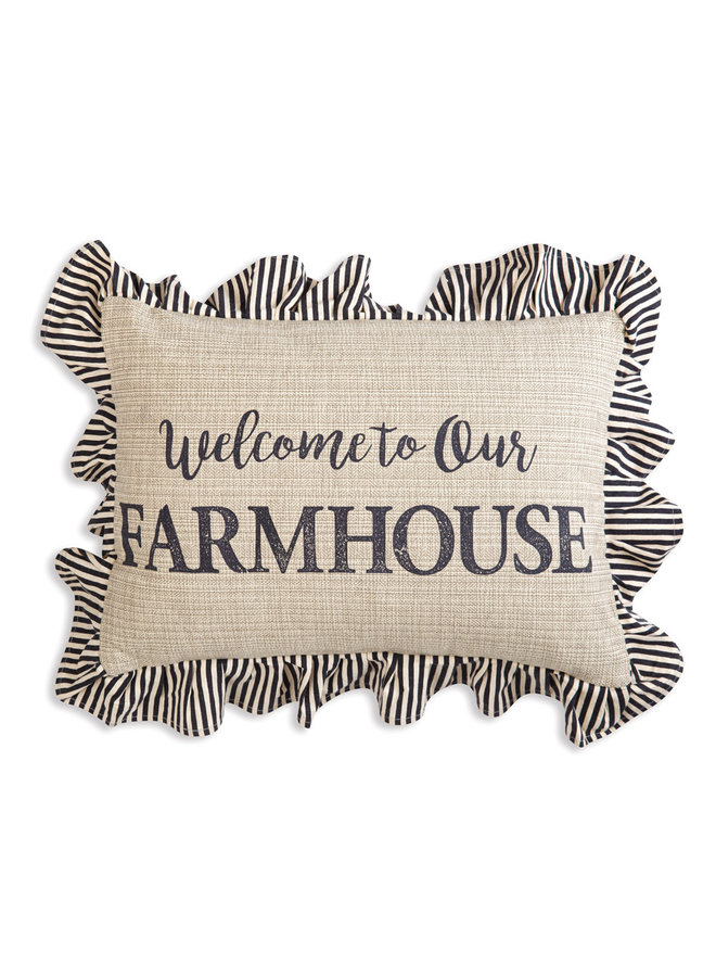 Farmhouse Accent Pillow with Ruffles