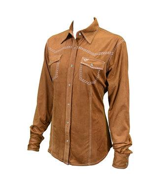 Cowboy Hardware 254 Western Faux Suede Shirt Mocha