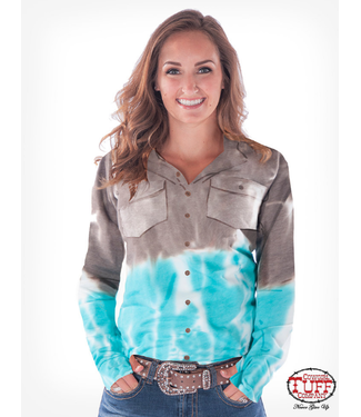 Brown and turquoise tie-dye sport jersey pullover