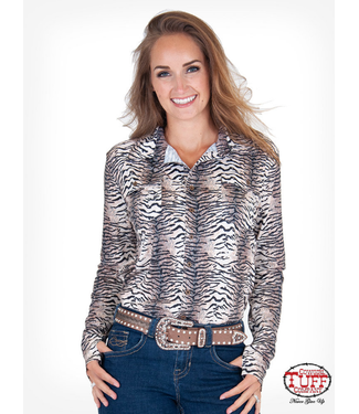 Tiger print sport jersey pullover button-up