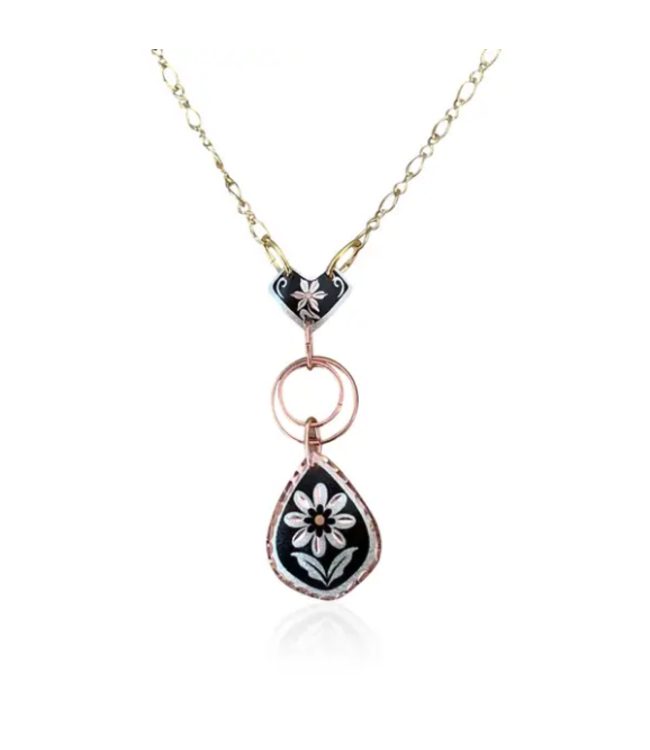 Flower Design Drop Necklace