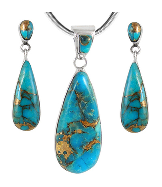 Sterling Silver Pendant & Earrings Set Matrix Turquoise