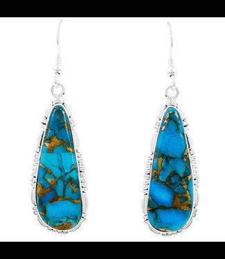 Matrix Turquoise Drop Earrings Sterling Silver
