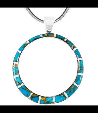 Sterling Silver Pendant Matrix Turquoise Loop