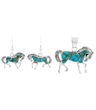 Sterling Silver Horse Pendant & Earrings Set Spiny Matrix Turquoise