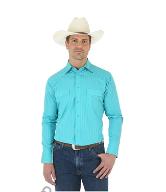 Men's Wrangler® Silver Edition Long Sleeve Western Snap Print Shirt in Turquoise