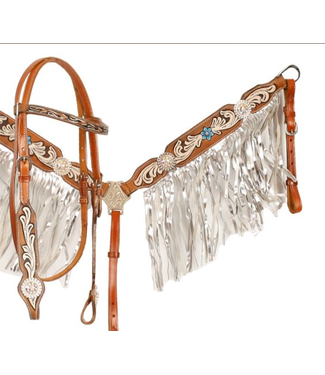 Showman 704 Floral Painted Tack Set with Metallic Fringe