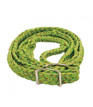 Lime Green Rainbow Glitter Braided 8' Knotted Barrel Reins