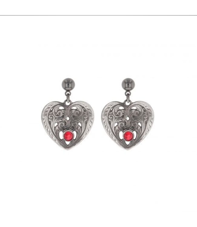 Montana Silversmith Heart Shaped Earrings with Red Rhinestones