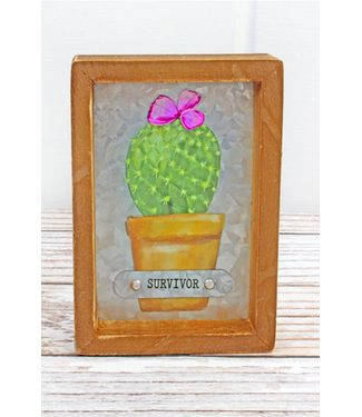 6 x 4 'Survivor' Cactus Framed Metal Tabletop Sign