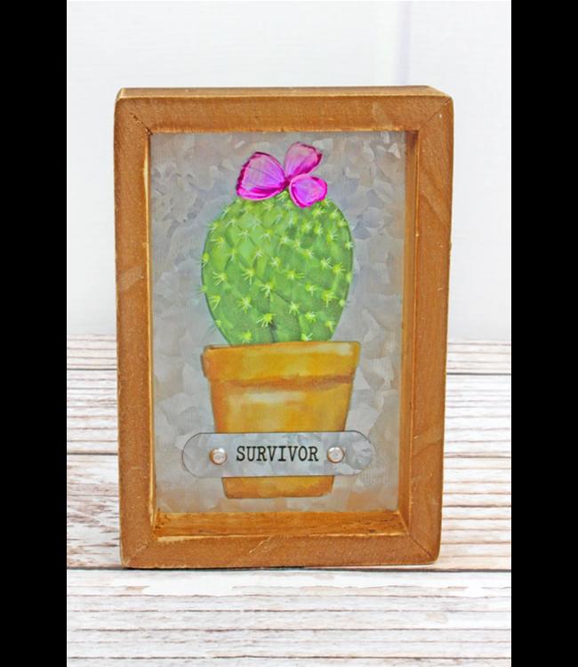 6 x 4 'Survivor' Cactus Framed Metal Tabletop Sign