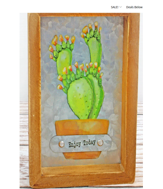 6 x 4 'Enjoy Today' Cactus Framed Metal Tabletop Sign