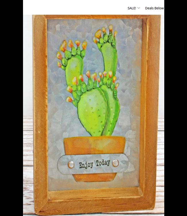 6 x 4 'Enjoy Today' Cactus Framed Metal Tabletop Sign