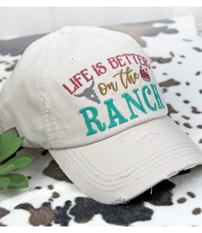 Distressed Stone 'Life Is Better On The Ranch' Cap