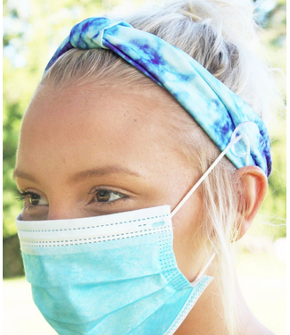 Blue Tie-Dye Wide Button Headband Face Mask Holder