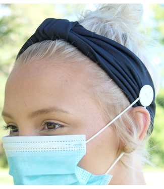 Black Wide Button Headband Face Mask Holder