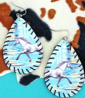 Horse Faux Leather Whipstitch Teardrop Earrings