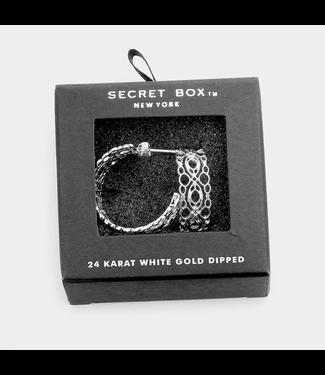 Secret Box 24k White Gold Dipped Filigree Earrings