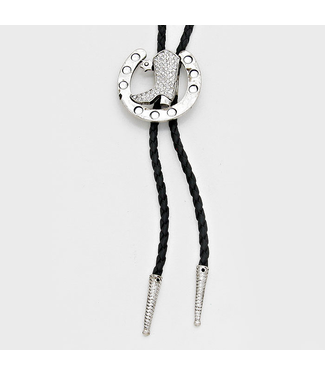 Crystal Horseshoe Boot Bolo Tie