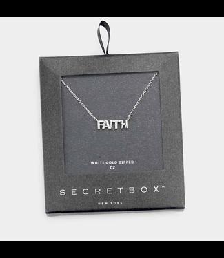 Secret Box White Gold Dipped Cz Faith Pendant Necklace