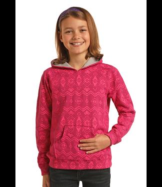 Girl's Pink Aztec Print Hoodie