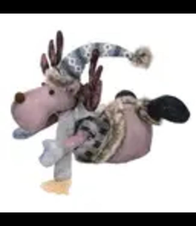 Fabric Grey Christmas Laying Moose