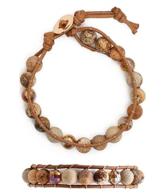 Knotted Semi Precious Stone and Glass Bead Bracelet
