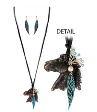 Wirework Horse Pendant with Leaf Charm Long Necklace Set