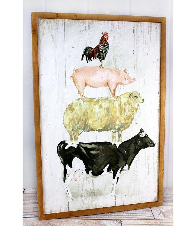 300 Stacked Farm Animals Wood Wall Art
