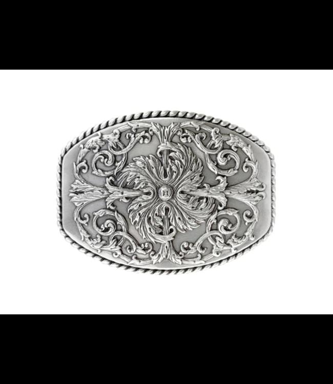 Antique Silver Floral Engraved Ornate Western Design Belt Buckle