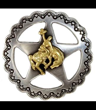 "Star Bronco Rider Concho 1 1/4"" Antique Silver and Gold"