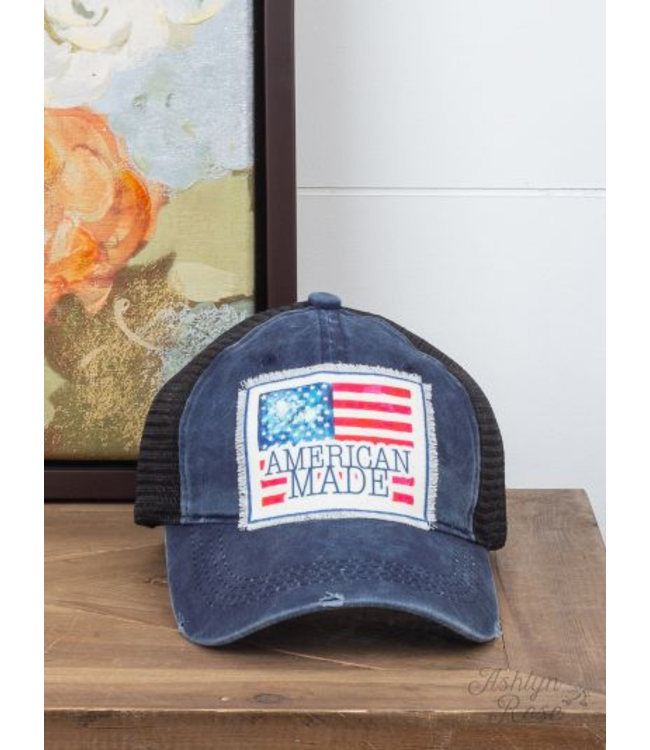 American Made Patch on Distressed Navy Hat with Black Mesh