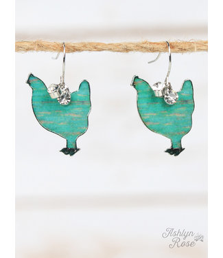 Turquoise Brushed Hen Earrings, Silver