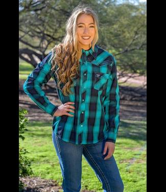 Cowboy Hardware Women's Hombre Turquoise Plaid Shirt