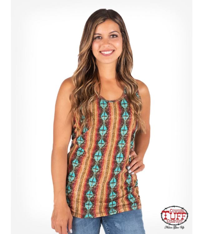 Cowgirl Tuff 506 Coral and turquoise Aztec print tank